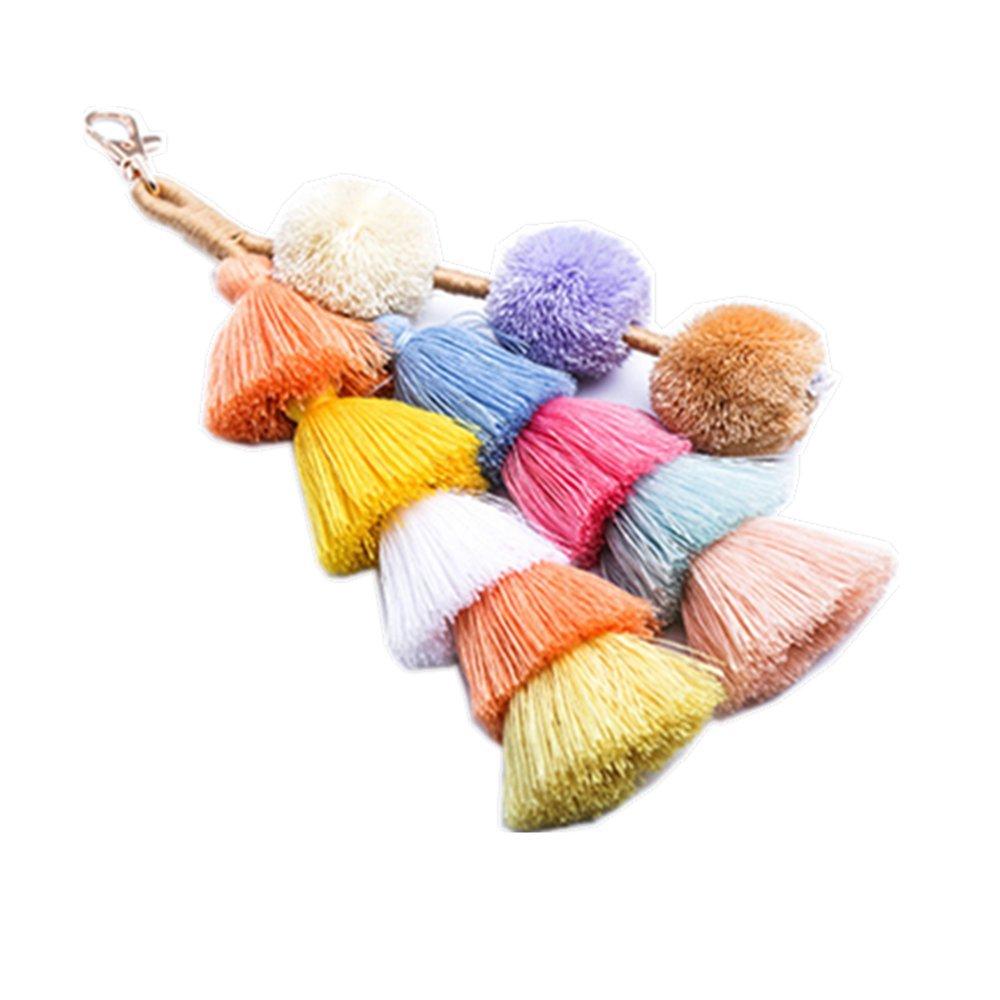 Hand Made Colorful Bohemian Tassel Bag Charm Keychain Handbag Pendant (Multicolored2)