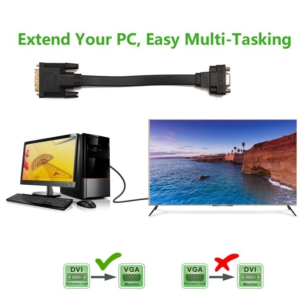 1 maschio a VGA Femmina m//f video piatto cavo adattatore Converter YIWENTEC Active DVI-D Dual Link 24
