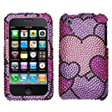 Cloudy Hearts Diamante Protector Faceplate Cover For APPLE iPhone 3GS/3G
