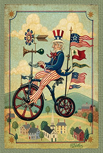 Toland Home Garden Patriotic Bikes 'n Stripes 28 x 40 Inch Decorative Rustic July 4 Uncle Sam Bicycle America Stars House Flag