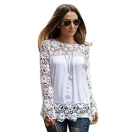 135995189d6ddf Amazon.com: Chen Women White Sheer Sleeve Embroidery Top Blouse Lace  Crochet Chiffon Shirt (16)