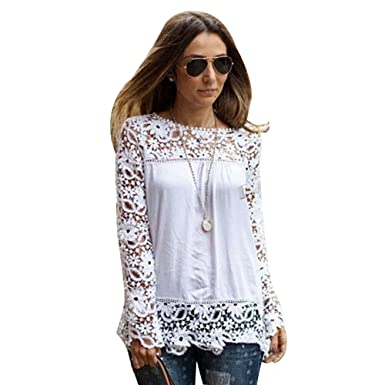 Misscat White Women Sheer Sleeve Embroidery Crochet Floral Pattern