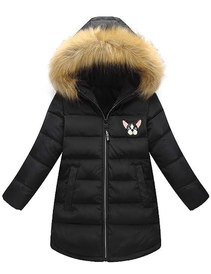 Echinodon Mädchen Winterjacke mit Fellkapuze Kinder Lange Daunenjacke Winter Outdoor Jacke Parka Mantel