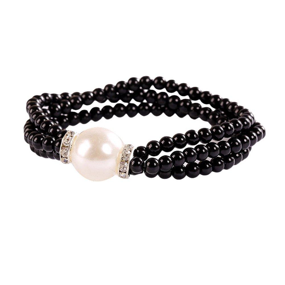 Wintefei Chic Big Faux Pearl Multilayer Beaded Bracelet Bangle Women Rhinestone Inlaid Jewelry- Black