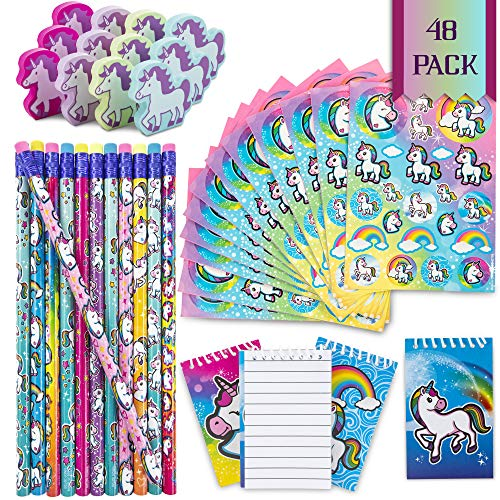 FavinorTM Unicorn Stationary Party Souvenirs Favors 48 Gift Pack - 12 Erasers - 12 Themed Booklets - 12 Pencils - 12 Stickers - Kids Birthday Party Supplies Bulk Set - Ideal As Party Favor, Reward Prizes, carnival And Events ()