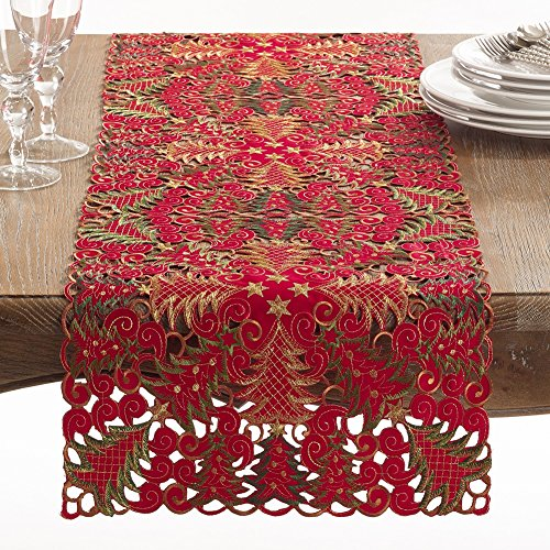 Tree Holiday Collection (Fennco Styles Panettone Collection Holiday Christmas Tree Cutwork Table Runner - 16
