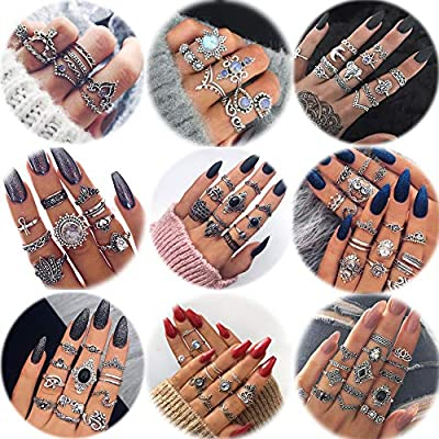 LOLIAS 66-104 Pcs Vintage Knuckle Ring Set for Women Girls Stackable Rings Set Hollow Carved Flowers