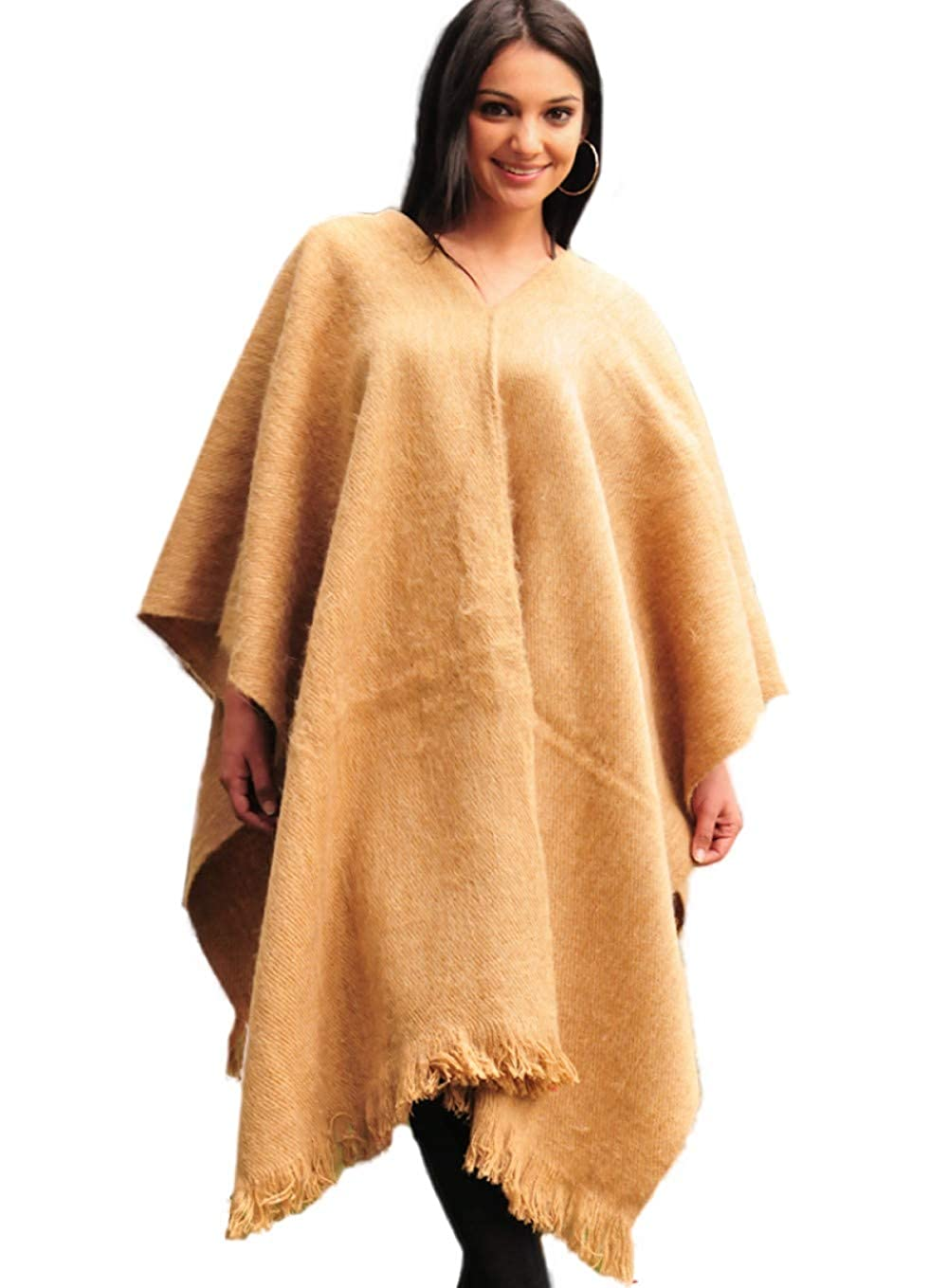 Gamboa Donna Morbida Come la Seta Marrone Chiaro Elegante Alpaca Ruana