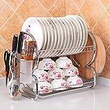 Cadrim tazas y escurridor cubiertos estante del dren del plato sobre el fregadero Fruta vegetal y el drenador del utensilio Filtro de cocina funcional Soporte de secado del alambre (Torreta)