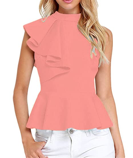 f9ee4a5980f Women Summer Sexy Mock Neck Sleeveless Asymmetric Ruffle Side Peplum Top  Tank Shirt Blouse Party Club Wear at Amazon Women s Clothing store