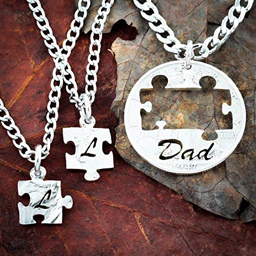 3 Piece Dad Puzzle Necklaces for Fathers and Sons initials Jewelry, Hand Cut Coin, By NameCoins