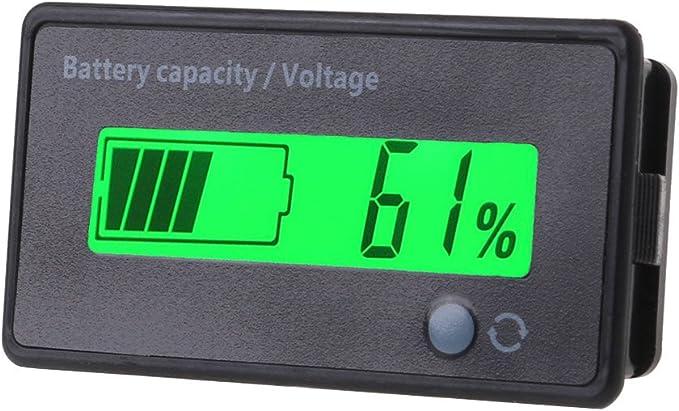 siwetg 12V-84V Indicador De Capacidad De La Bater/ía De Plomo Medidor De Voltaje Volt/ímetro Monitor LCD