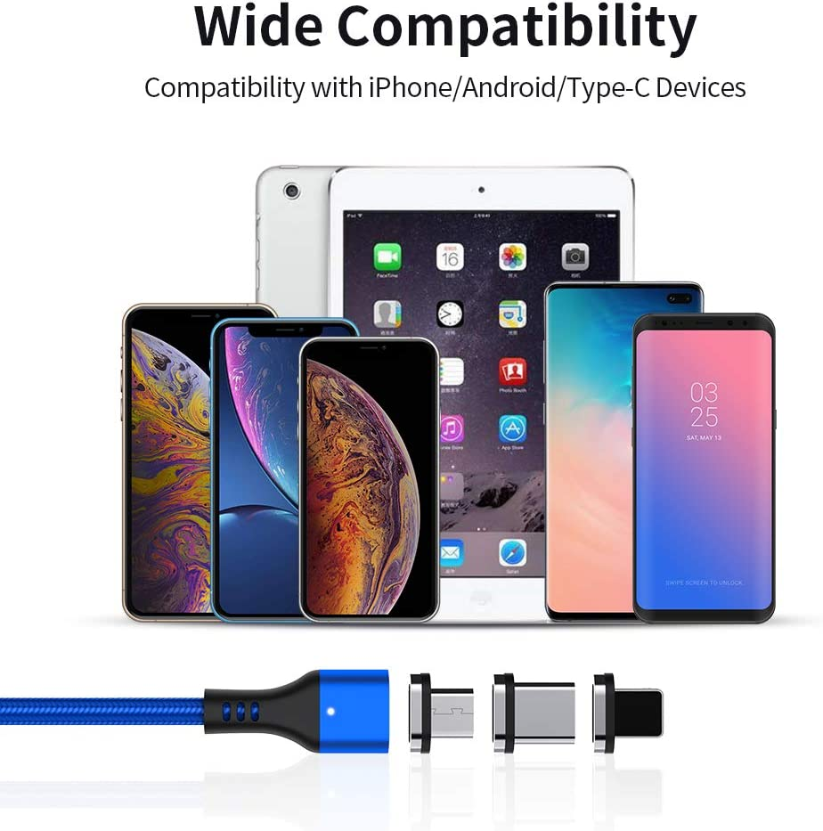 Silver 2Pack ZRSE 2 Pack 3 in 1 Nylon Braided USB Fast Charging /& Data Syncing Cord with LED Light Compatible with Mirco USB /& Type-C /&-iProduct Devices Type C Magnetic Charging Cable