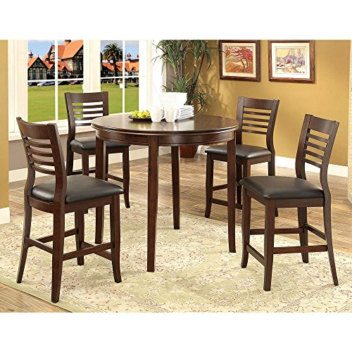 1PerfectChoice Dwight 5 pc Round Dining Counter Ht. Table Chair Padded Leatherette Brown Cherry