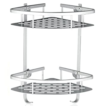 Lancher Bathroom Shelf ( No Drilling ) Durable Aluminum 2 Tiers Shower Shelf  Kitchen Storage Basket