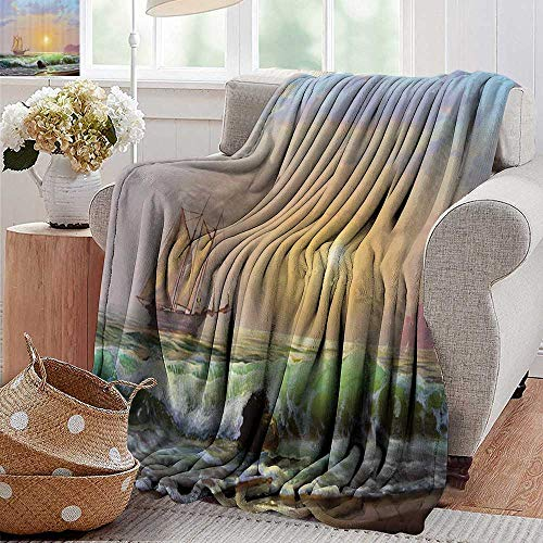 PearlRolan Soft Cozy Throw Blanket,Lakehouse Decor Collection,Sailboat Against of Sea and Forceful Waves Hitting to Rocky Shore Oil Painting,Teal Beige Blue,for Bed & Couch Sofa Easy Care 50