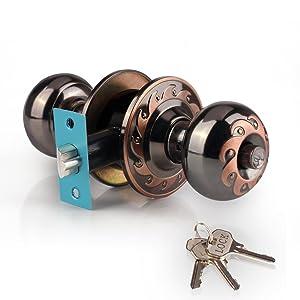 Ivoku Ball Privacy Interior Doorknob with 3 Key and Deadbolt,Vintage Keyed Entry Door Knobs Lock Set, Security Deadbolt Knob Handle for Bathroom Bedroom Kitchen Old Back Wooden Indoor Door(Red Copper)