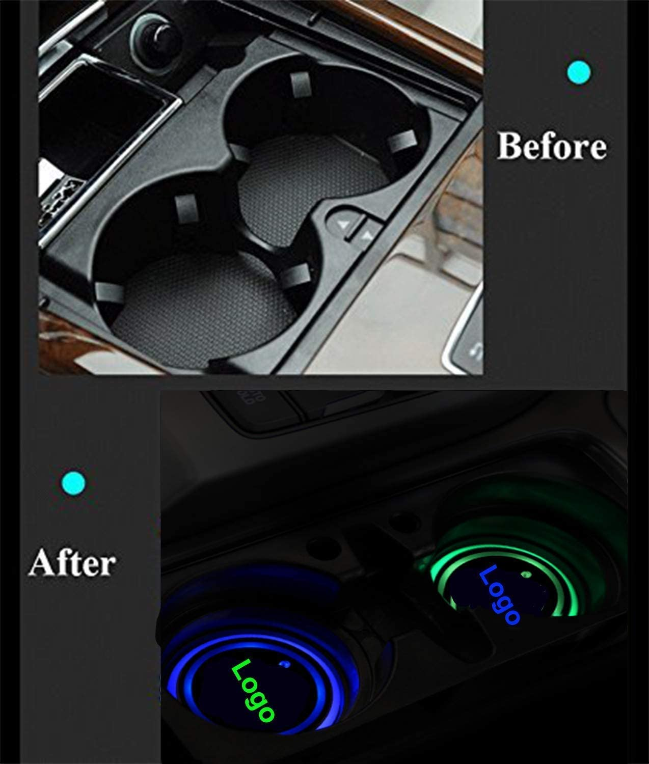fit f-o-r-d Upgraded Version LED Car Cup Holder Lights,LED Shiny Water Cup Mat Waterproof Bottle Drinks Coaster Built-in Light 7Colors Changing USB Charging Mat Cup Mat 2PCS Gabriel