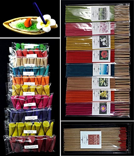 Relaxation with 19 scented, Thai tradition temple incense 20 sticks, 8 packs of 10 smokeless fragrance incense tube, 10 packs of 10 aroma fragrance Incense cones & handmade ceramic Incense burner (P4) - incensecentral.us