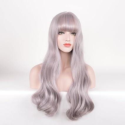royalvirgin plata gris peluca con Bangs larga onda Cosplay Rizado ...