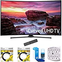 Samsung 49 Curved 4K Ultra HD Smart LED TV 2017 Model (UN49MU6500) with 2x 6ft High Speed HDMI Cable, Screen Cleaner for LED TVs & Stanley 6-Outlet Surge Adapter with Night Light