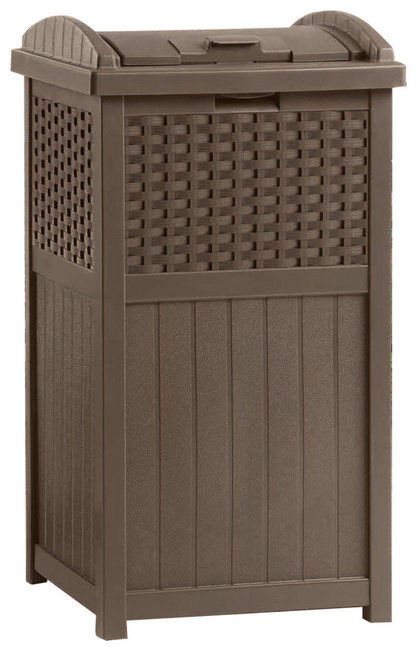 zwan 33 Gallon Capacity Resin Wicker Outdoor Garbage Container with Ebook