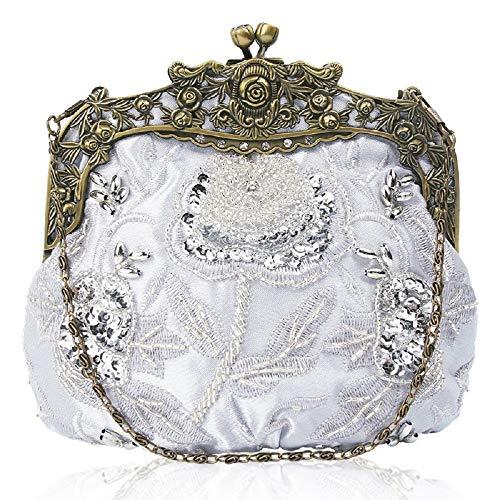 Banchetti Le Borsa Di Catenelle Borse Rosso Spalle Wfl Argento vino Sera Per Signore Clutch Mini Perline Spose Diagonali centimetro Da Bag x8Z1wSqY