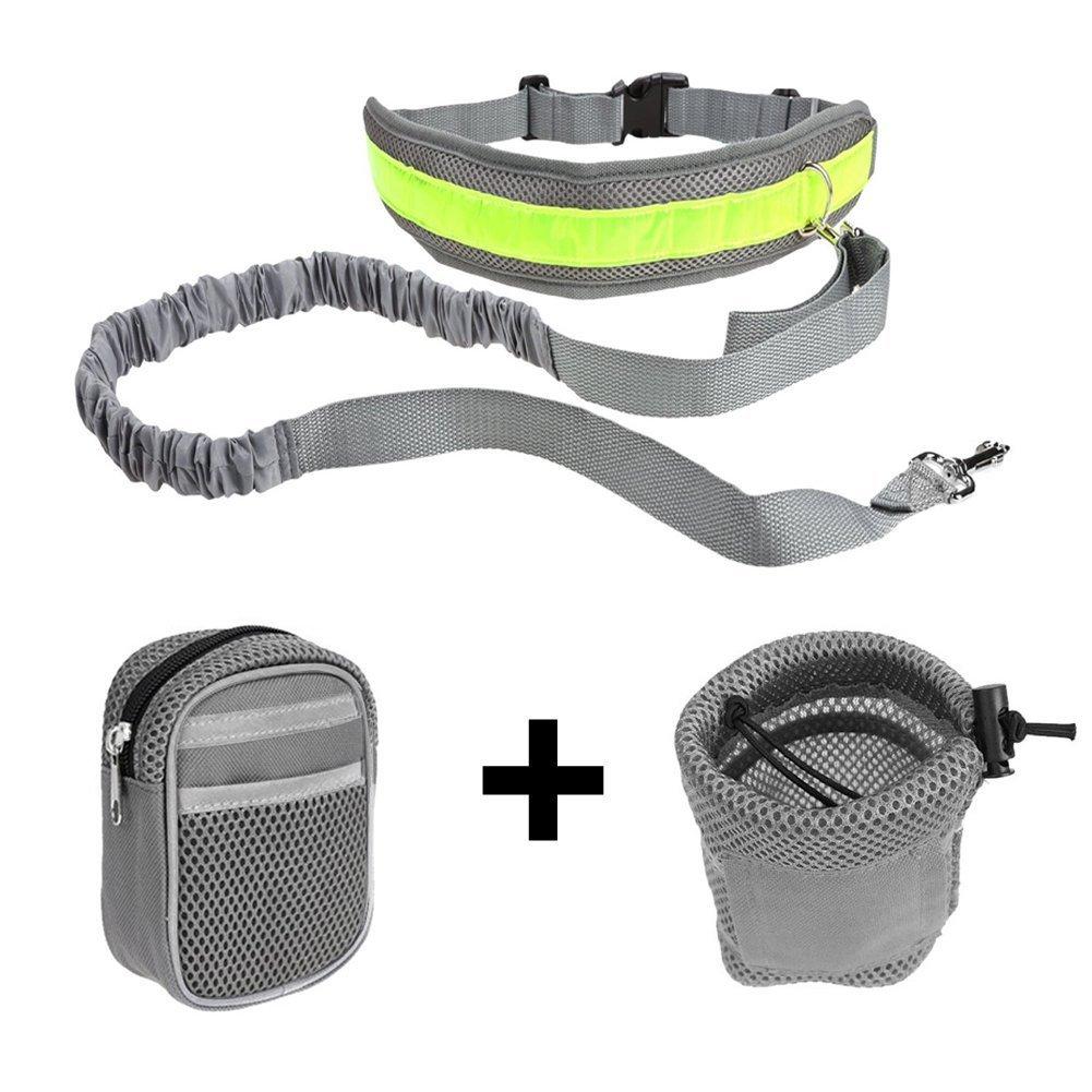 Ploopy 2 Colores Perro Manos Libres Caminando Cinturón bolsa de Cuerda Correa Ajustable, Correas para Perros para Correr / Trotar / Caminar al Aire Libre 2 Bolsas Gris