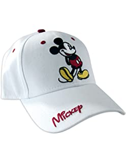1b5f2bb29 Disney Classic Mickey Mouse Adult Hat Baseball Cap, White & Red