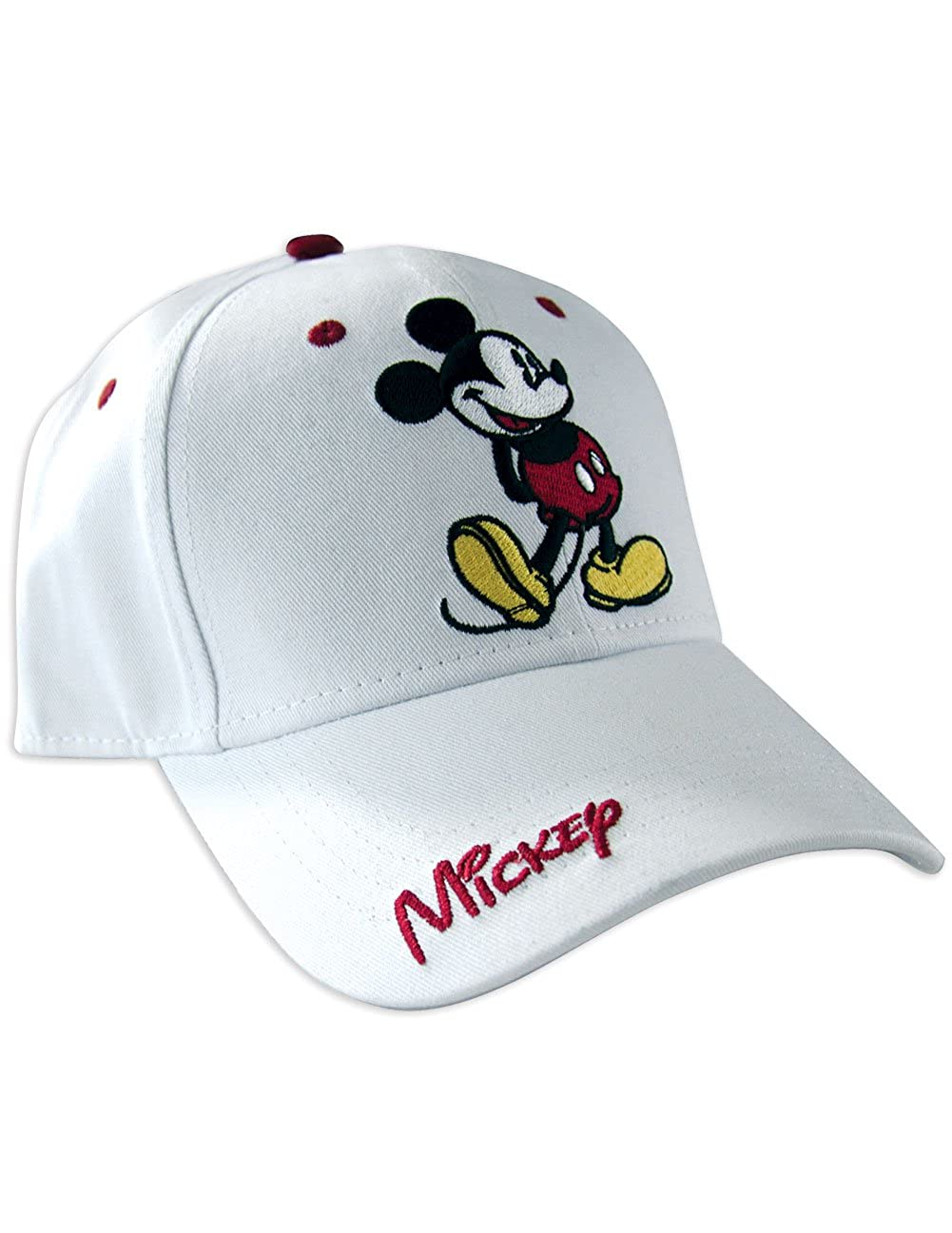 Disney Classic Mickey Mouse Adult Hat Baseball Cap, White & Red Johnson Smith Co. 42328Q1