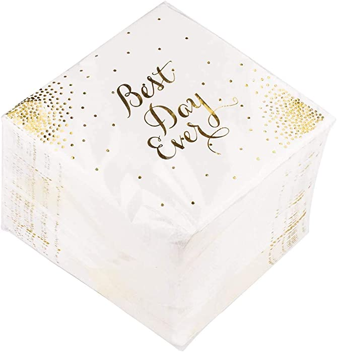 """Procest 100 Pack Gold Foil Cocktail Napkins for Wedding reception, Birthday, Special Occasions, Graduation, Bachelorette Party, 3-Ply Cocktail Napkins, Folded 5x5 Inches, Saying """" Best Day Ever"""""""