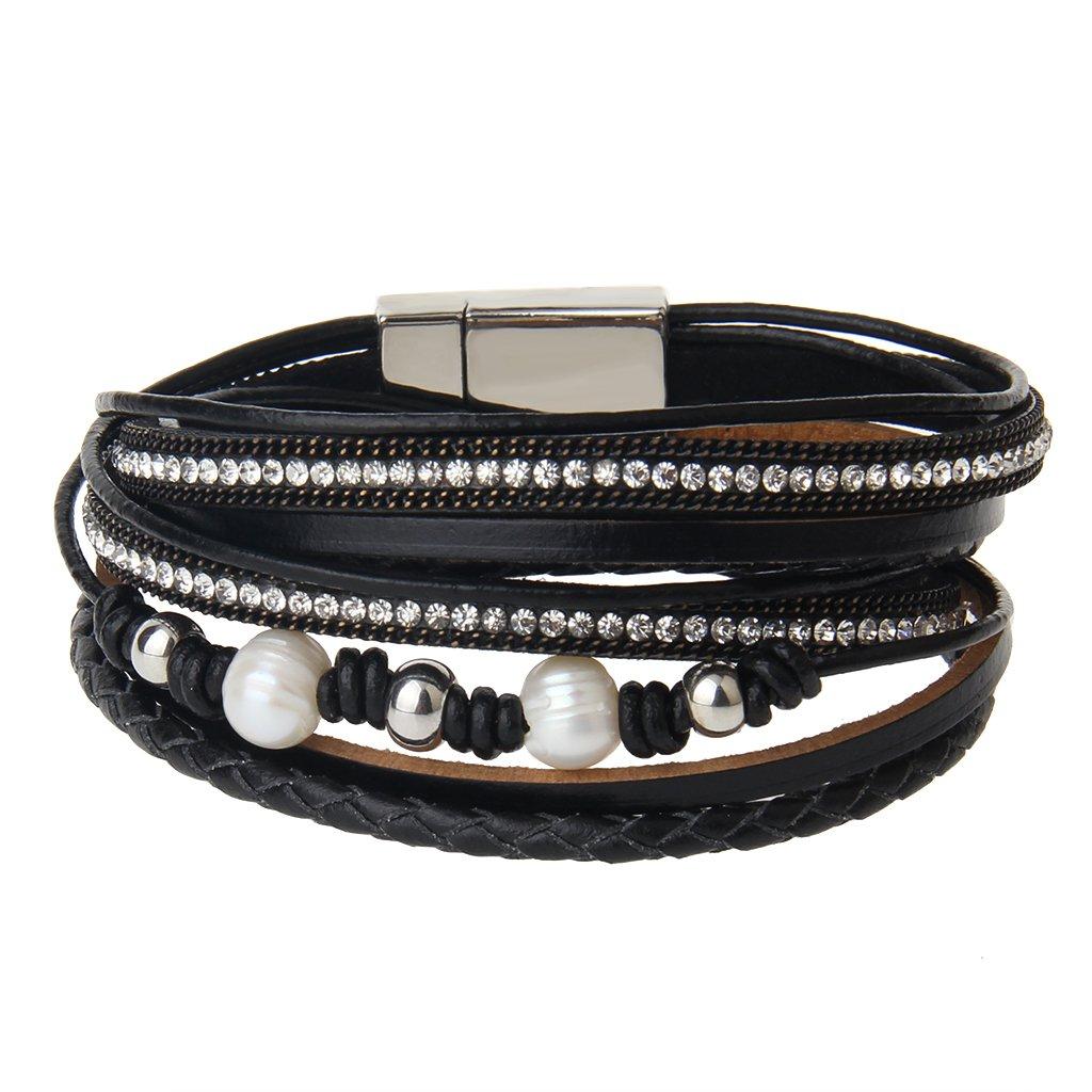 COOLLA Jewelry Soft Genuine Leather Women Bracelet Men Bracelet Wrap Bracelet (Black)