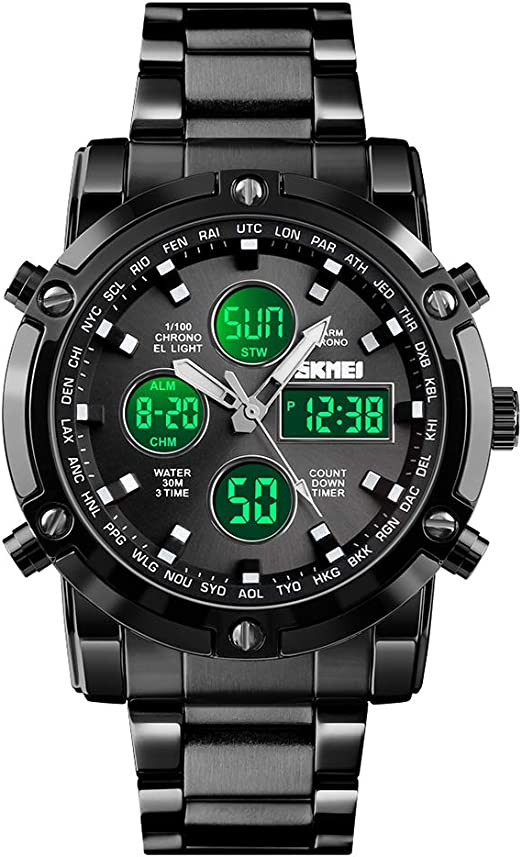 Waterproof Military Analog Digital Watches with LED Multi Time Chronograph Stainless Steel Business Watches for Men Unisex Wrist Watch