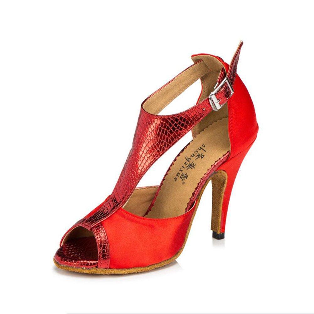 XUE Damen Latin Schuhe/Ballroom Schuhe Satin/Seide Sandale Indoor/Professional Schnalle Ferse Tanzschuhe Party  Abend Lila, Farbe, Rot (Farbe : C, Grouml;szlig;e : 40)  40|C