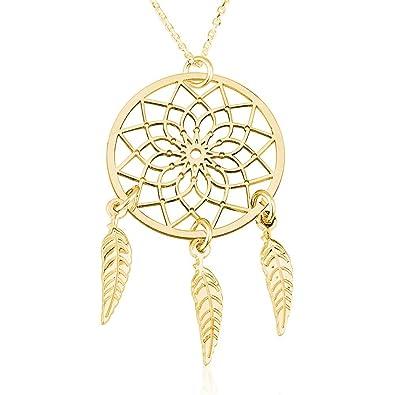 Amazon dreamcatcher pendant tribal dream catcher necklace 925 amazon dreamcatcher pendant tribal dream catcher necklace 925 sterling silver plated in 18k gold 14 jewelry aloadofball Images