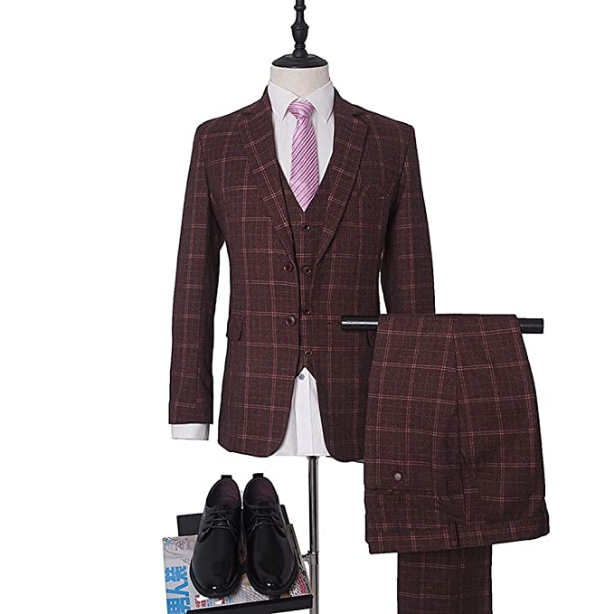 Amazon.com: Burgundy Plaid - Traje de hombre para hombre con ...
