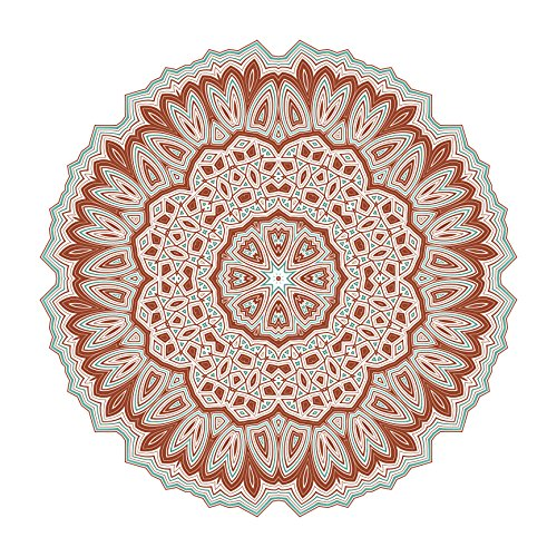 Pretty Pumpkin Orange Mandala Flower Icon Vinyl Decal Sticker (4