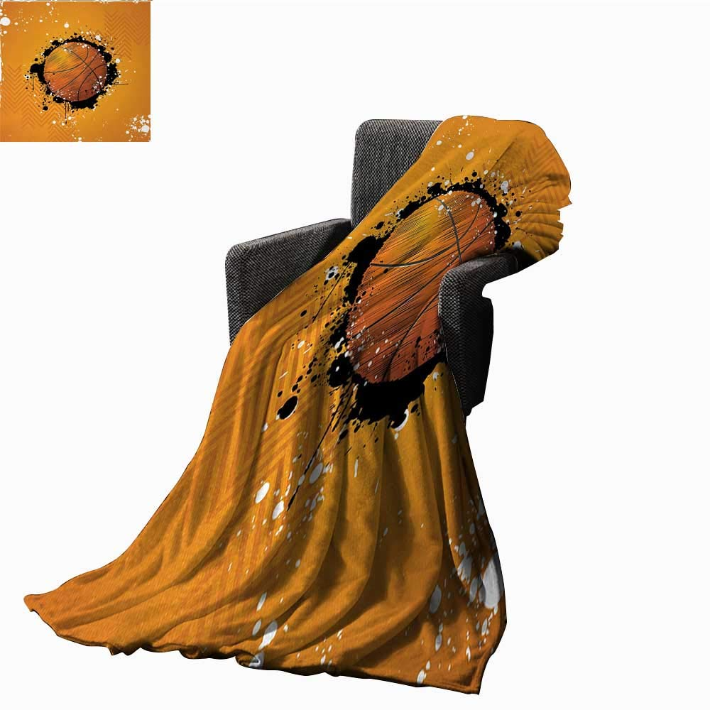 Basketball Warm Microfiber All Season Blanket Basketball and Paint Splashes on Abstract Grungy Background Sport Theme Print,Super soft and comfortable,suitable for sofas,chairs,beds