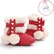 LIVEBOX Infant Toddlers Baby Girls' Soft Sole Anti-Slip Bow Mid Calf Warm Winter Pom Pom Prewalker Snow Boots With Free Gift Socks (S: 0~6 Months, Red)