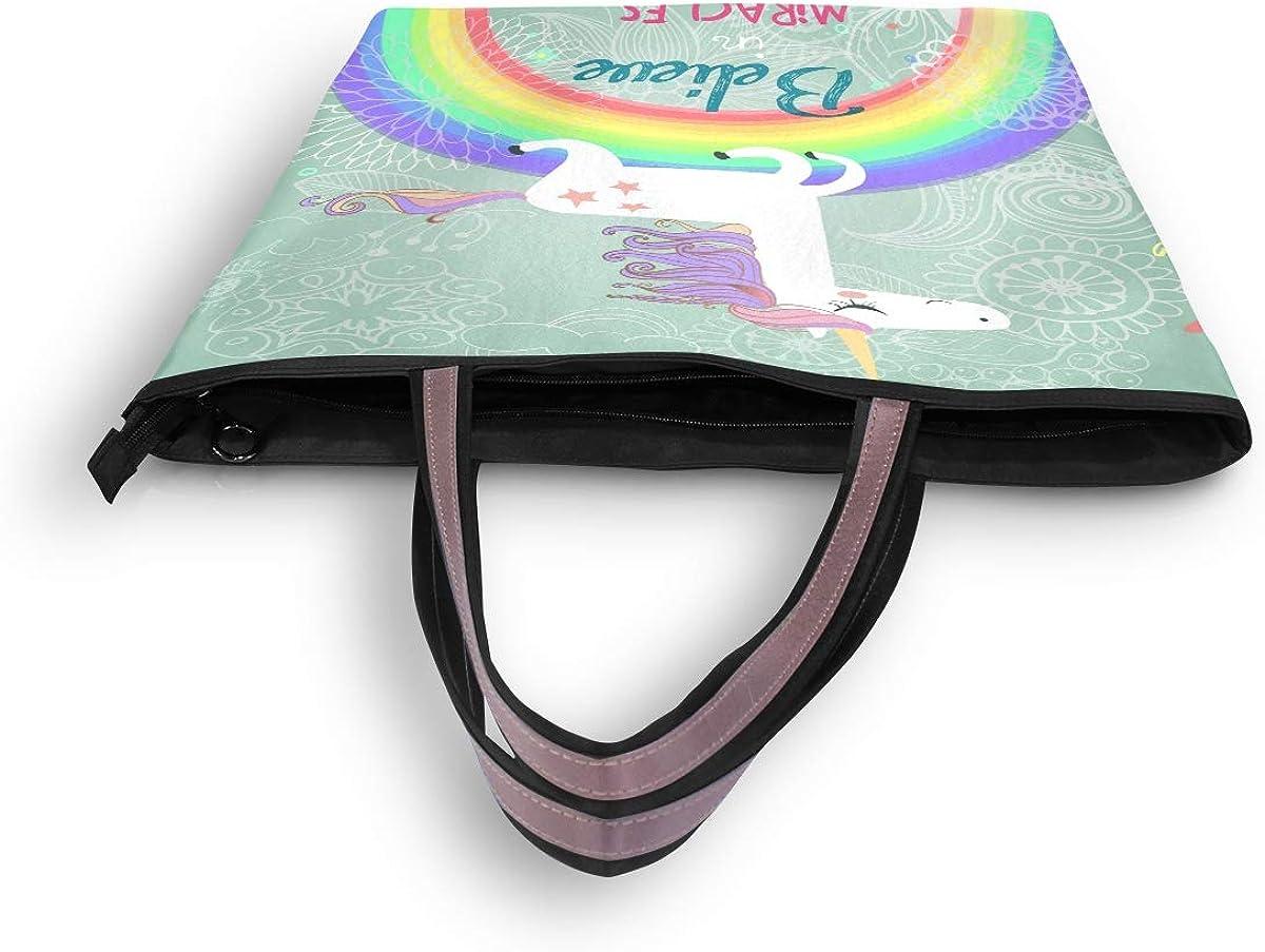 AUUXVA Cute Unicorn Rainbow Handbags for Women Tote Bag Top Handle Shoulder Bag Satchel Purse