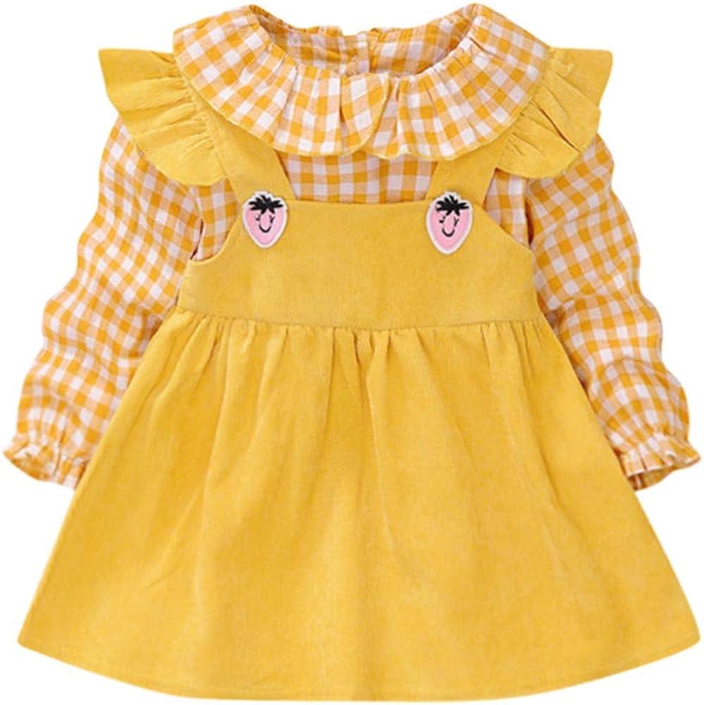 Shenye - Vestidos de Tela Amarilla para bebés y niñas con Volantes ...