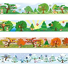 """Wandkings border """"Owls and Foxes"""" Length: 236 inch, self-adhesive, for children's rooms"""