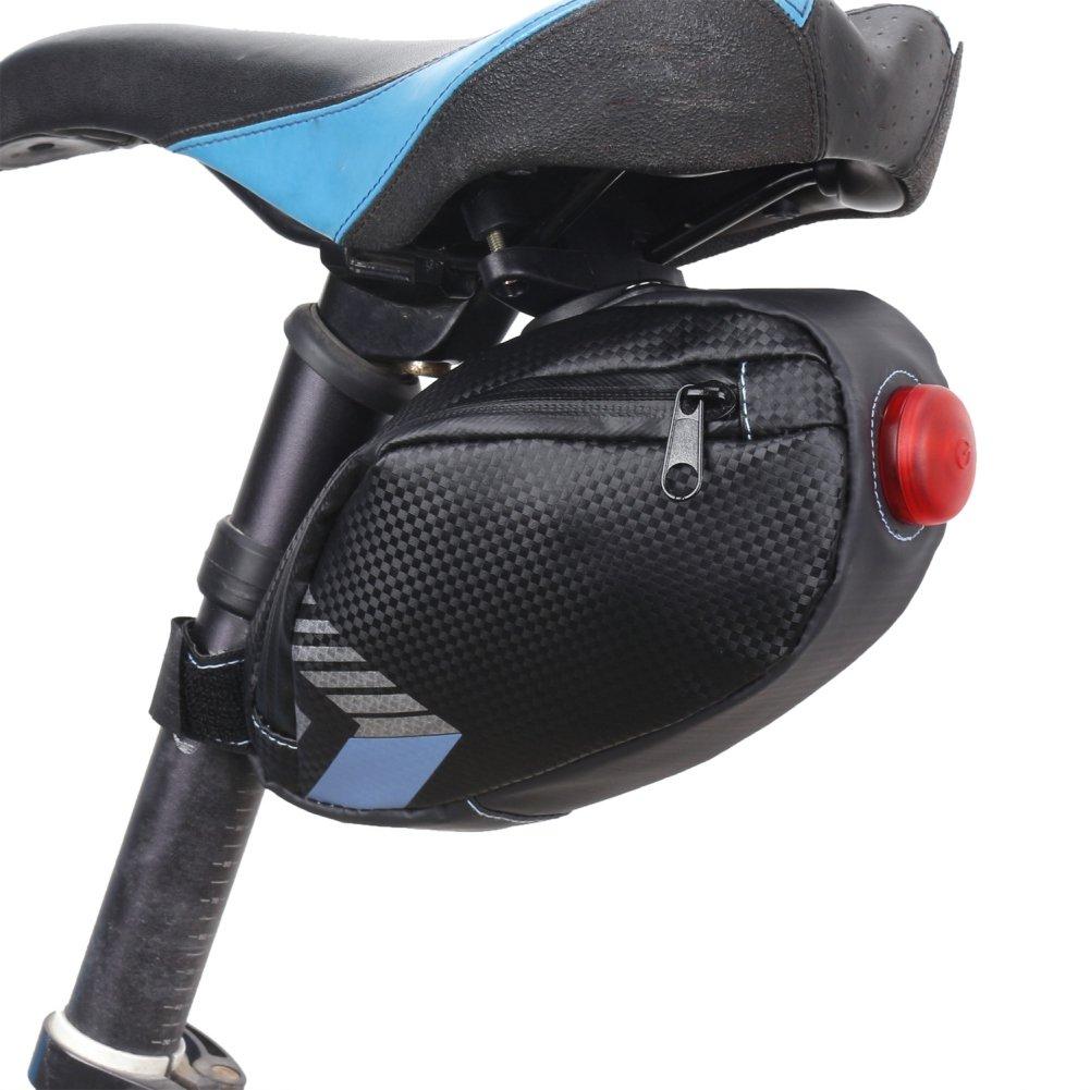 Peyan Waterproof Bicycle Tail Bag, Under Seat Bike Wedge Pack, Mountain Road Bike Seat Bag, Rear Saddle Bag Bicycle with Taillight