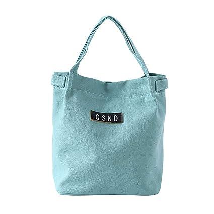 edab31274b98 Amazon.com: Ikevan Lunch Bag Picnic Bag Pure Color Cotton Canvas Bag ...