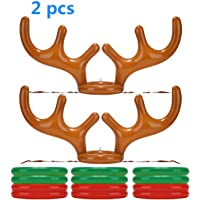 2Pack Inflatable Reindeer Antler Hat with Rings; Inflatable Reindeer Antler Ring Toss Game for Family Christmas Party Games