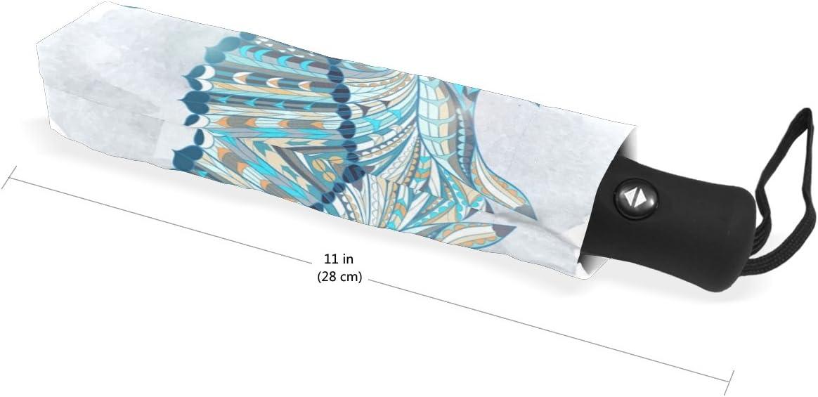 DOENR Blue Owl Compact Travel Umbrella Sun and Rain Auto Open Close Umbrellas Windproof UV Protection Umbrella