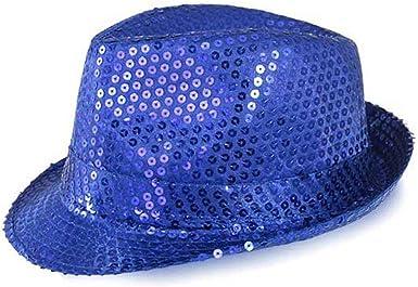 Funkeet Adult Sequin Fedora Hat Kid Dance Cap Solid Jazz Hat Party Glitter Costum
