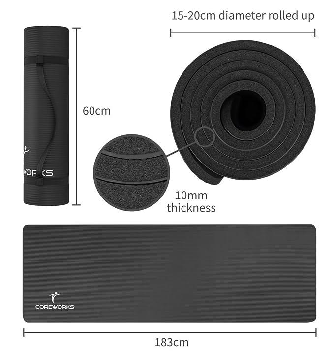 coreworks por MLC grande para 10 mm de grosor acolchada Multi-Purpose ejercicio yoga y pilates con libre correa mango. Perfecto para core ...