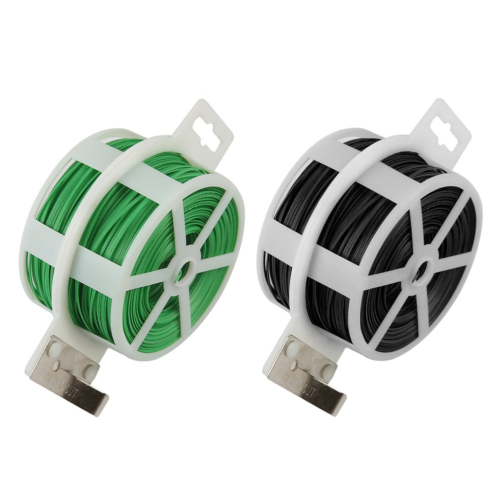 Shintop 2PCS 328 Feet Garden Plant Twist Tie with Cutter for Gardening, Home, Office (Green+Black)