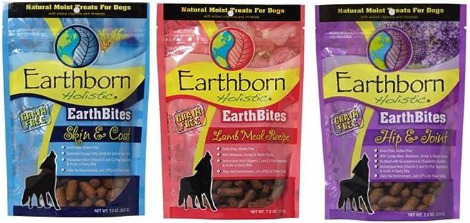 Earthborn Holistic EarthBites Grain-Free Gluten-Free Natural Moist Dog Treats 3 Flavor Variety Bundle: (1) EarthBites Lamb Meal Recipe Treats, (1) EarthBites Hip & Joint Treats, and (1) EarthBites Skin & Coat Treats, 7.5 Oz. Ea. (3 Bags Total)